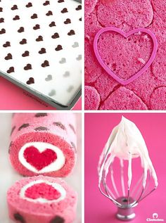 """Love is All Around"" Cake Roll {Heart-patterned cake roll made easier with a CAK. ""Love is All Around"" Cake Roll {Heart-patterned cake roll made easier with a CAKE MIX, filled with a cloud-like whip Dense Cake Recipe, Cake Cookies, Cupcake Cakes, Whipped Cream Cheese Frosting, Cake Roll Recipes, Yummy Recipes, Patterned Cake, Velvet Cake, Red Velvet"