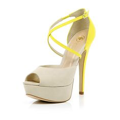 Bright Yellow Peep Toe Shoes - River Island - £.65.00