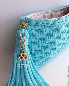 """Купить Вязаный клатч """"Голубые облака"""" - бирюзовый, однотонный, голубой, голубая сумка, небесный"""