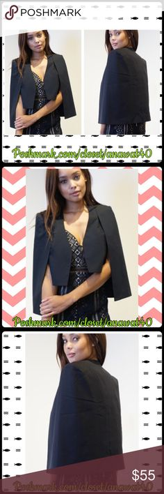 """HP Miss Crimson Cover Cape Miss Crimson Cover Cape - Mandarin collar with open front - Sleeveless with inner armhole panels  - Draped shoulder cover - Allover crepe texture - Lined - Approx. 21"""" length  _ Inner Vest 16"""" length - Model is wearing size small Tea n Cup Jackets & Coats Capes"""
