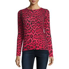 Neiman Marcus Cashmere Collection Cashmere Leopard-Print Crewneck... ($250) ❤ liked on Polyvore featuring tops, sweaters, red, slim fit sweaters, cashmere sweater, j.crew cashmere sweaters, sweater pullover and crew neck pullover sweater
