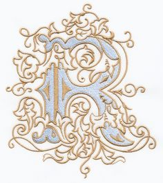 Vintage Royal Alphabet & Accent Designs (2013 Alphabets) R Monogram