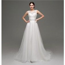 1f65dcfa7bd Traditional Princess Sheer See Through Back Tulle Lace Wedding Dress With  Belt