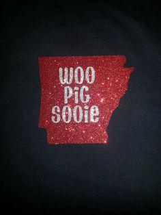 Arkansas Razorback WOO PIG SOOIE Glitter by DoodleandBugDesigns, $23.00
