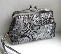 Small Clutch/Wristlet in Black and Silver Brocade by PinotByLyn