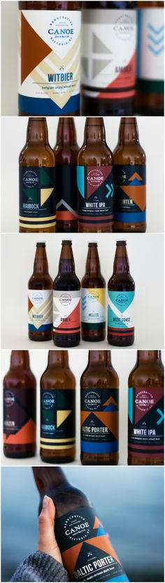 Waterfront Brewery and Restaurant Labels Inspired by the Pacific Northwest Life for Canadian Beer Design Agency: Caribou Creative Brand / Project Name: Canoe Brewpub Beer Labels Location: Canada Category: #Beer #Drinks  World Brand & Packaging Design Society