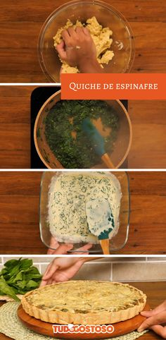 Quiche de espinafre Palak Paneer, Pizza, Bar, Cooking, Ethnic Recipes, Fitness, Food, Noodle Recipes, Vegetarian Recipes