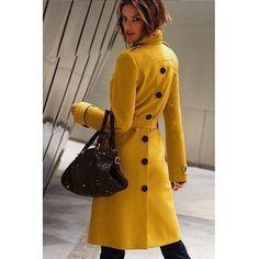 Cheap New Style Turndown Collar Long Sleeves Back Split Buckles Designed Single-breasted Yellow Velvet Long Wool Coat