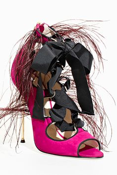 Freak-Shoe Friday: Brian Atwood's Hairy Ribbon Disaster Crazy Shoes, Me Too Shoes, Weird Shoes, Brian Atwood Shoes, Ugly Shoes, Winter Looks, Fall Winter, Kinds Of Shoes, Fashion Colours
