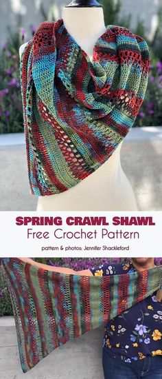 Spring Crawl Shawl Free Crochet Pattern #freecrochetpatterns #crochetshawl #summershawl Knitted Shawls, Crochet Scarves, Crochet Shawl, Crochet Yarn, Crochet Clothes, Free Crochet, Crochet Designs, Crochet Patterns, Crochet Jacket