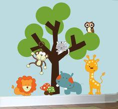 Childrens nursery decals animal jungle wall art vinyl wall tree decal. $129.00, via Etsy.