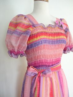 1970's Pink Party Dress  / ombre dress / 70s by roguegirlvintage, $55.00