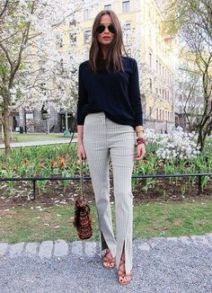 Love those striped panel pants with the front vent - so cool!