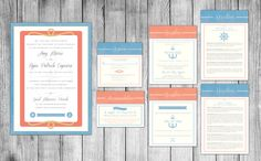 Nautical Wedding Invitations - Pocket Folder/Layered Style. Blue and Coral. Designed by info@gkprints.com