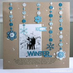 Winter Memories layout by Mary Ann Jenkins (little yellow bicycle)