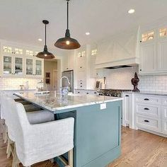 New Kitchen Cabinets White Beadboard Counter Tops 35 Ideas Kitchen Island With Stove, Best Kitchen Cabinets, Green Cabinets, Kitchen Island Lighting, Painting Kitchen Cabinets, Kitchen Paint, New Kitchen, Kitchen Ideas, Kitchen Tips