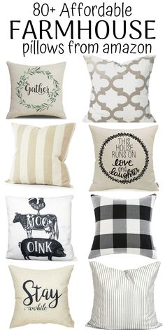 I am officially OBSESSED with these modern farmhouse pillows! I can't believe how affordable they are! I think I ordered about 6 new pillows from this massive collection of 80+ farmhouse throw pillows. They will look AMAZING on my couch and also in my bedroom. If you love the fixer-upper style so these rustic and french country pillows are a must-have. I am PINNING THIS for later!!