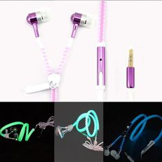 New Metal Zipper Earphone luminous Glow In The Dark Earphones auriculares With mic for Apple samsung mobile phone mp3