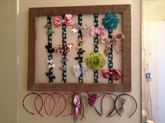 Little girl hair accessories holder. Made from old frame.