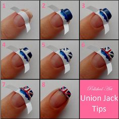Union Jack nail tips. Super cute, especially since i love everything British. Hopefully i can do them better and less messy looking.