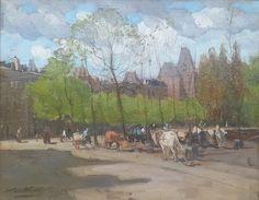 Nicolaas van der Waay - Gezicht op het Rijksmuseum met karren en paarden op de Stadhouderskade