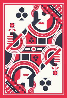 円と直線と45度のラインだけで作られたクイーンのカード。かっこいい。(via Justin Mezzel)