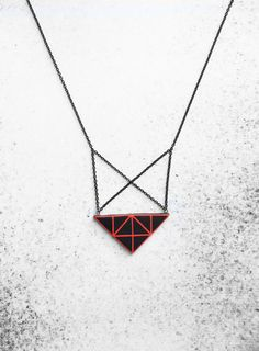 Geometric triangle necklace handmade black & red urban style pendant  polymer clay by AnankeJewelry