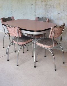 Medium image of pink vintage kitchen table and chairs with pink and grey