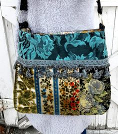 Pretty Boho Bag In Blues And Greens by Justbepurses on Etsy