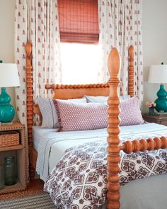 While this inviting bedroom gets a dose of character from multiple patterns, the real showstopper is the bed frame's bold spindle design, a classic country style of furniture that's making a comeback.