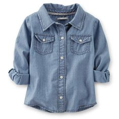Light Wash Denim Shirt  http://www.carters.com/carters-baby-girl-tops/V_235B309.html?dwvar_V__235B309_color=Denim#cgid=carters-baby-girl-new-arrivals&startRow=0&sz=all&navID=header&start=104