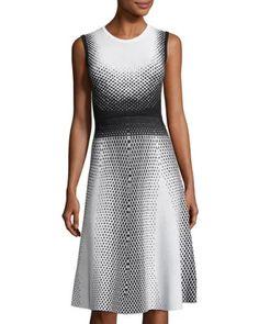 Ombré Polka-Dot Crewneck Dress, Black/White