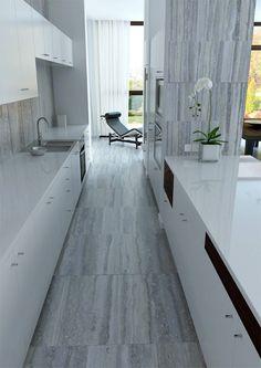 déco de cuisine longue et étroite en blanc