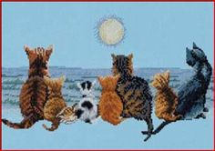 Chrissie Snelling - Cats staring at the Sunset Cross Stitch Ribbon Embroidery, Cat Art, Cross Stitching, Cactus Plants, Needlework, Poster, Drawings, Artist, Artwork