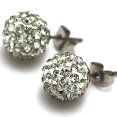 Bang on trend - these unisex, gorgeous & sparkly Clear Crystal Shamballa stud earrings, as worn by celebrities, are the perfect fashion accessory for this season! Size:  8mm beads - Hypo-allergenic surgical steel.