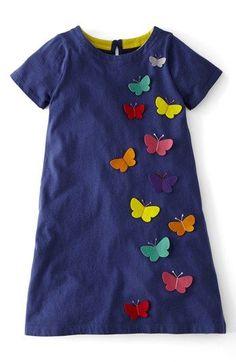 Mini Boden Appliqué Cotton Dress (Toddler Girls, Little Girls