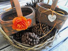 Set Of Two Personalized Rustic Flower Girl Basket  PICK YOUR COLORS  With Your Intials Country Chic Woodland Outdoor Wedding on Etsy, $48.00