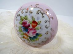 Vintage Pink and Gold Ceramic Door Knob Hand painted flowers