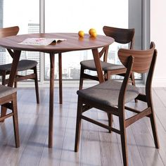 Scandi Round Dining Table - The Scandi Round Dining Table combines simplicity and style in classic Danish form. Its diameter makes the Scandi a perfect choice for eat-in . Round Wood Dining Table, White Dining Chairs, Dining Chair Set, Dining Room, Kitchen Furniture, Kitchen Decor, Eat In Kitchen Table, Kitchen Cupboard, Kitchen Design