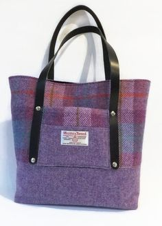 My new design - Harris Tweed Tote Bag in Pink and Lilac