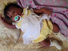 "NEW Reborn Baby Girl 18"" Doll Beautiful Brown Eyes & Hair Mocha Sk Kimi PrePaint"