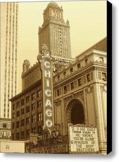 Chicago Theater...vintage 1950's...judging by the movies on the marquee