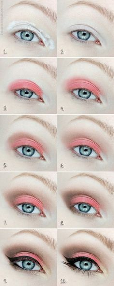 Cute Coral Eyeshadow Tutorial For Beginners | 12 Colorful Eyeshadow Tutorials For Blue Eyes by makeup Tutorials at http://makeuptutorials.com/12-colorful-eyeshadow-tutorials-blue-eyes/