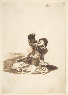 Goya (Francisco de Goya y Lucientes)   A Man Drinking from a Wine Skin; Images of Spain Album, 63   The Met