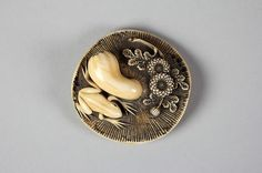 Netsuke of Mushroom and Frog Date: 19th century Culture: Japan Medium: Ivory