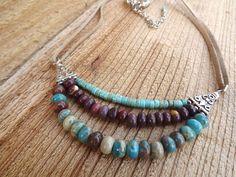 Free shipping gemstone and suede layered necklace by Amayeli, $40.00