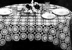 Vintage Crafts and More - Young Love Lacy Openwork Crochet Tablecloth