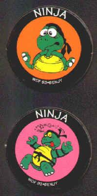 NINJA TURTLE POGS (Worlds of Fun, BENJY, 1993): Smooth surface, Lot of 2 different, Teenage Turtles dressed like Ninjas, but not Mutants. Both for $2