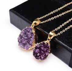 Raw Purple Amethyst 18K Gold Plated Necklace