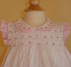"""Amazon.com: Pretty in Pink Hand Smocked """"Roses and Gingham"""" Sun Dress Set- 3m-6m-9m-12m-18m-24m: Clothing"""